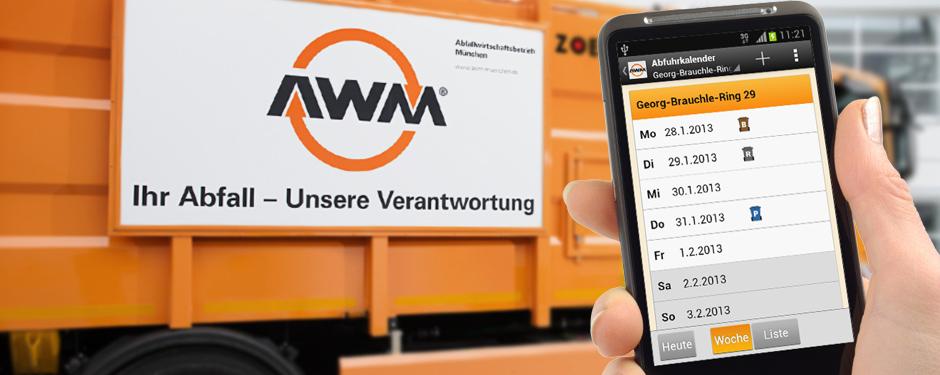 AWM Abfallwirtschaftsbetrieb München kostenlose App im iTunes AppStore und bei Google play