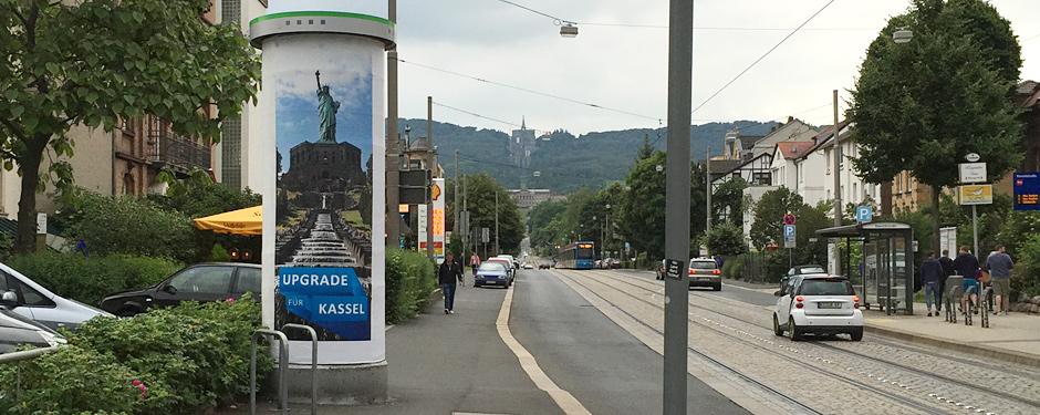 Netcom Kassel - Upgrade für Kassel - Litfaßsäule am Herkules Wilhelmshöher Allee